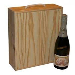 Caja madera tres botellas cava